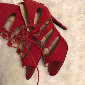 Michael Antonio red caged heels